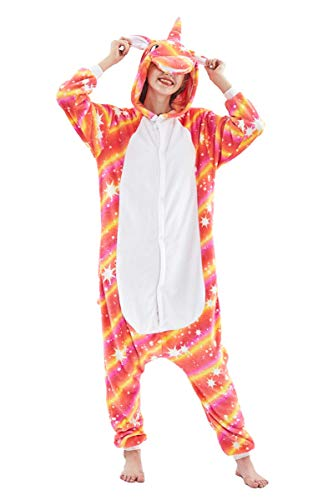 Adult Pajamas Unisex Sleepsuit Animal Sleepwear Jumpsuit Halloween Cosplay Costume (L(Height 171-180 cm), Orange B)