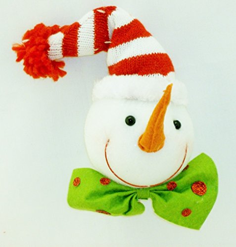 Snowy face Happy Snowman with Carrot Nose, Big Bow Tie and Red & White Stocking Cap