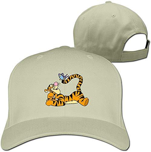 (YQUE Adult Pooh Bear Tigger Butterfly Trucker Cap Hat Black)