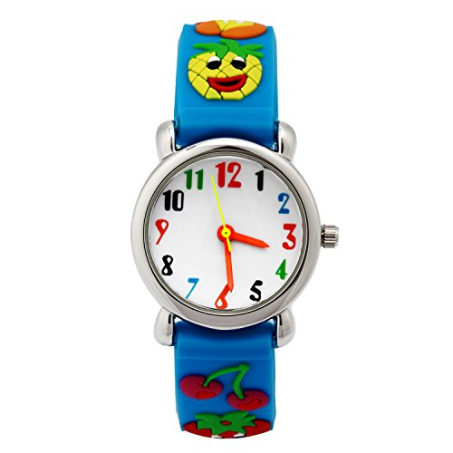 Price comparison product image Jewtme Cute Toddler Children Kids Watches Ages 3-8 Analog Time Teacher 3D Silicone Band Cartoon Watch for Little Girls Boys (Fruits-Blue)