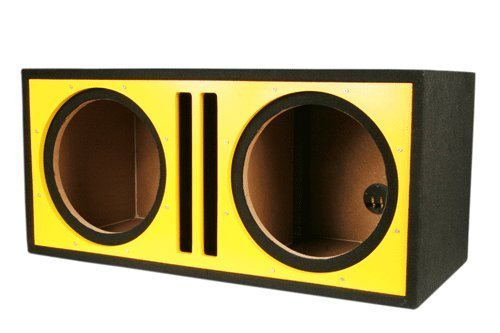 Absolute USA PDEB12Y Dual 12-Inch 3/4-Inch MDF Twin Port Subwoofer Enclosure with Yellow High Gloss Face Board