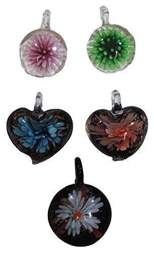 Shangri-La Nook Hand Blown Colorful Murano Glass Pendant Necklace 5 pcs Set