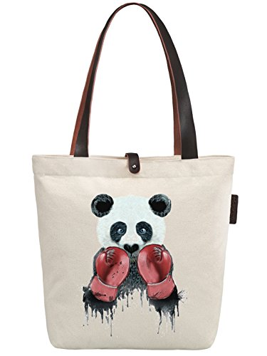 So'each Women's Panda Animal Boxer Graphic Canvas Handbag Tote Shoulder Bag