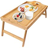 Greenco GRC2547 Bamboo Foldable Breakfast Table and Serving Tray, Brown