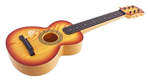 Toy Guitar Rock Star 6 Stringed Toy Guitar Musical Instrument w/ Guitar Pick Vibrant Colors Acoustic Kids Children's Tunable Vibrant Sounds Ukulele (Light Brown)