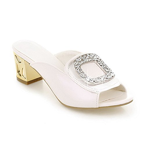 WeiPoot Womens Patent Leather Pull On Open Toe Kitten Heels Solid Slippers White H4HM594j4