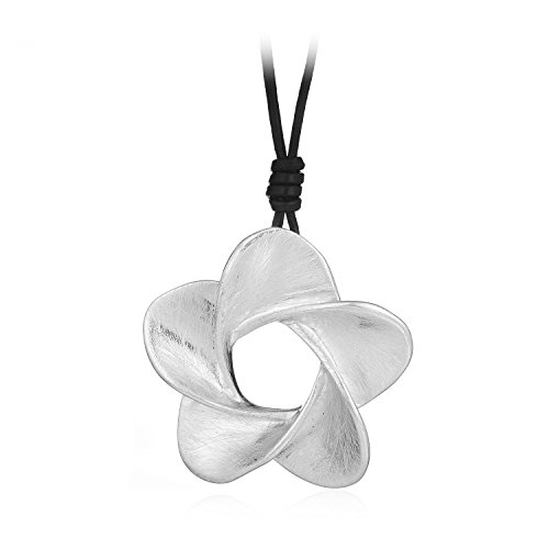 HONGYE Brushed Silver Hollow Whirl Lucky Five Flowers Shaped Pendant Necklace (Round Peach Coral Bead)
