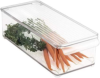 mDesign Caja organizadora con tapa para la cocina - Cajonera de plástico ideal para el congelador o frigorífico - Botellero apilable de plástico libre de BPA - transparente: Amazon.es: Hogar