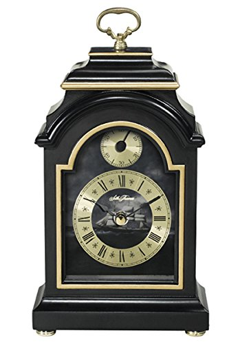 lack Finish Wood Case with Gold Tone and Ship Dial Carriage Mantel Clock ()