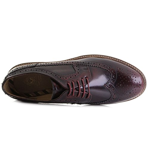 Base London Turner, Mens Hola Brillo Brogue De Piel Bordeaux