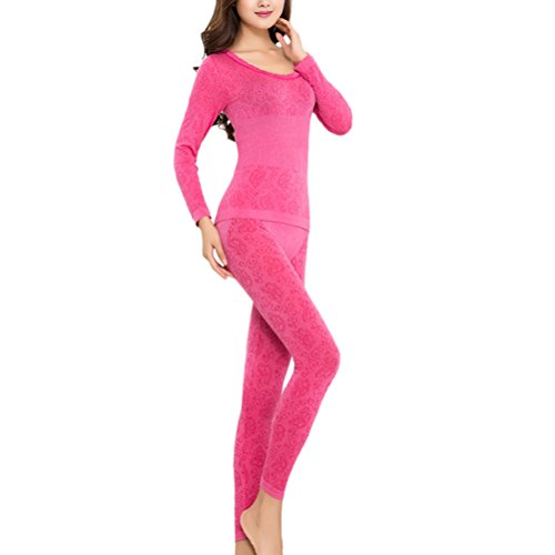 Zhhlinyuan Women's O-Neck Stretch Top & Bottom Thin Thermal Underwear Set Multi-color Rose Red