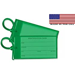 2 Green Luggage Tags - Made in USA