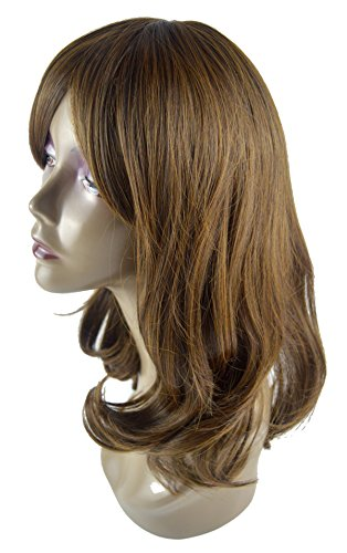 Leyee Korean Style Brown Mid-Length Natural Looking Oblique Bangs Kanekalon Fiber Synthetic Women Wigs, 19 Inches (Deluxe Brown Dreadlock Wig)