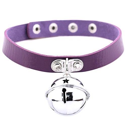 (FM FM42 Purple Simulated Leather PU 4cm Large Bell Pendant Neckband Choker Necklace PN1869)