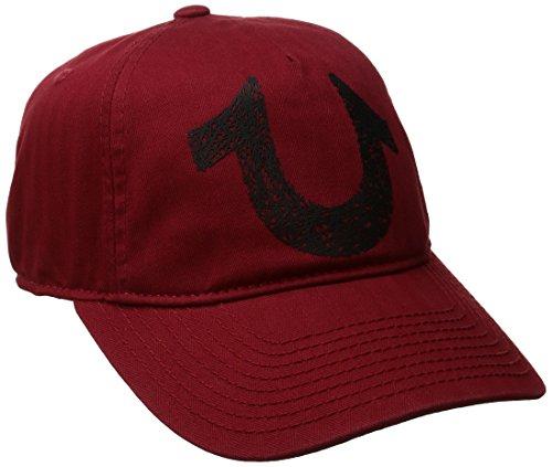 (True Religion Men's Shoe String Logo Ball Cap, True Red, One Size)