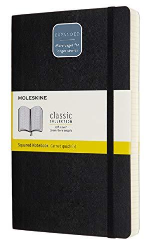Moleskine - Cuaderno Clasico con Paginas Cuadriculada, Tapa Blanda y Goma Elastica, Color Negro, Tamano Grande 13 x 21 cm, 192 Paginas (CARNET CLASSIQUE COUV SOUPLE)