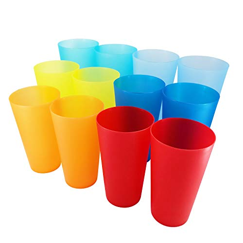 32 Oz Cups (AOYITE 32-ounce Plastic Tumblers BPA Free Dishwasher Safe Restaurant-Quality Glasses Set of 12 in 6 Multi-Colors Party)