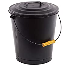 Fireplace Metal Hot Ash Covered Fireproof Bucket with Lid Black