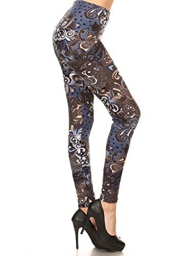 INACTIVE R773-OS Modern Floral Print Fashion Leggings