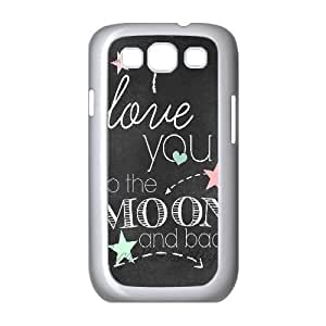 [Generic Love Quote] CHALKBOARD Art Print i LOVe YoU to the MoON Case for Samsung Galaxy S3, Samsung Galaxy S3 Case Girl Protective Cute for Girls {White}