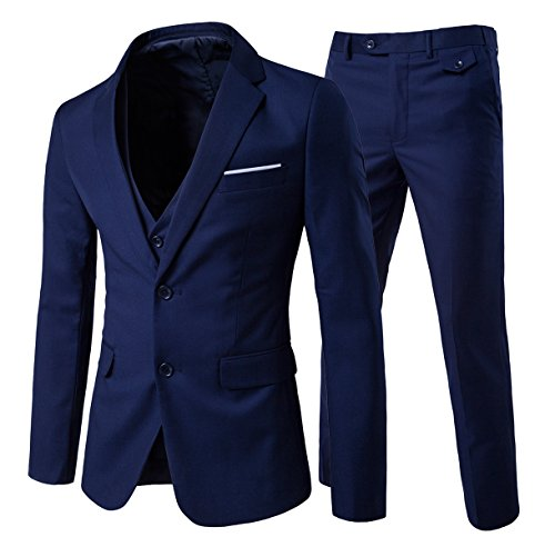 Men's 3-Piece Suit 2 Buttons Slim Fit Solid Color Jacket Smart Wedding Formal Suit, Navy, Medium