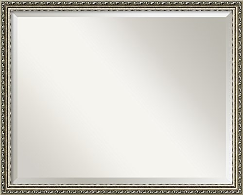 Wall Mirror Large, Parisian Silver Wood: Outer Size 30 x 24