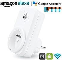 Prise intelligente, Smart Prise connectée Wifi compatible avec Google Home Amazon Alexa aucune hub requis prises télécommandées prise de courant mise en veille programmation LOT DE 1