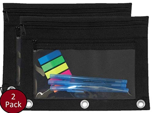 (1InTheOffice Pencil Pouch 3 Ring, Black,