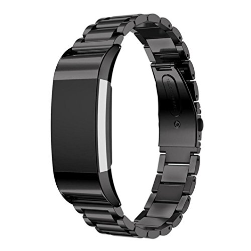 Price comparison product image Boofab For Fitbit Charge 2 Stainless Steel Replacement Accessory Bands,  Premium stainless steel watch band straps Wristbands Bracelet for fitbit Charge 2 Smart Fitness Watch black (Black)