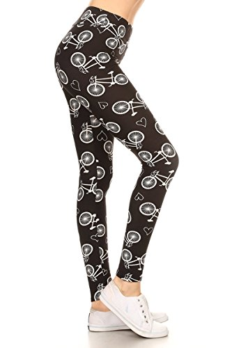 Leggings Depot Yoga Waist Women's Best Selling Buttery Soft Popular Print Leggings (Plus Size (Size 12-24), Bicycles and Hearts) -