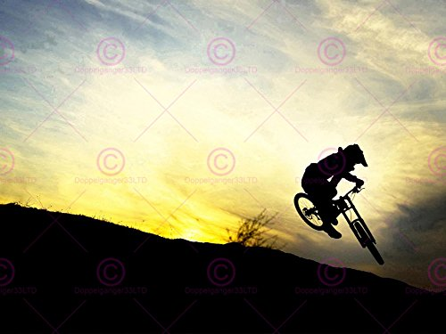 Sport Downhill Mountain Bike Silhouette Bicycle Sunset Poster Art Print