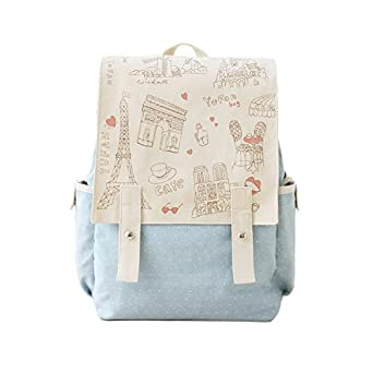 Fashion Cute Women s Bag Canvas Satchel Girls  Lovely Sweet Paris Style  Design Backpack Schoolbag Rucksack c7bdc1c848670