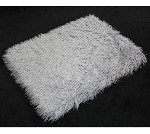 PupRug Faux Fur Memory Foam Orthopedic Dog Bed (Giant - 60'' L x 35'' W, Gray Rectangle) by Treat A Dog (Image #5)