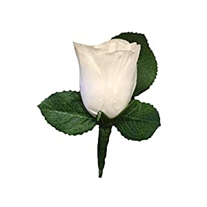 Angel Isabella Boutonniere - White Rose Boutonniere with Pin for Prom, Party, Wedding 90