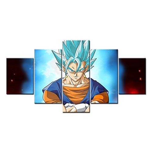 [Vegito Super Saiyan God Blue Vegeta & Goku 5 Pieces Wall Arts Modern Prints on Canvas (Unframed)] (Dbz Saiyan Armor Costume)