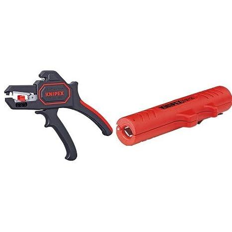 KNIPEX 12 62 180 SB Alicate pelacables automático 180 mm + 16 80 125 SB Herramienta pelacables universal 125 mm: Amazon.es: Bricolaje y herramientas
