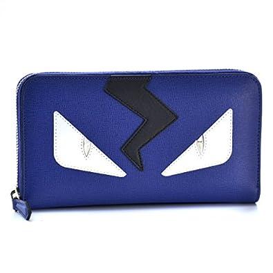 34f413914688 FENDI(フェンディ) 財布 メンズ 型押しカーフスキン ラウンドファスナー長財布 ネイビーブルー