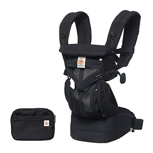 Ergobaby Babydrager Voor Pasgeboren Baby Tot Peuter, 4-Positie Omni 360 Cool Air Mesh, Ergonomisch, BCS360PONYX, Zwart