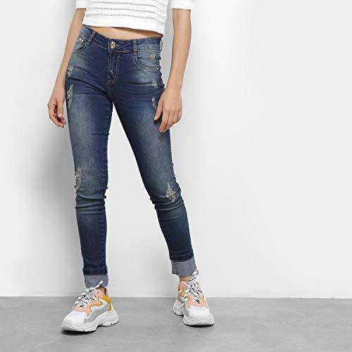 Calça Jeans Skinny Dimy Selena Rasgos Cintura Média Feminina - Azul - 36