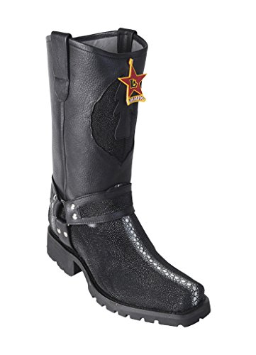 Men's New Biker Design Black Rowstone Genuine Leather Stingray Western Boots W/Industrial (Ray Western Print)