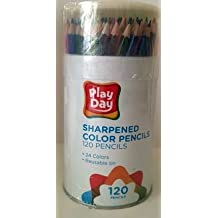 Play Day Sharpened Color Pencils 24 Colors 120 Pencils in Reusable Tin