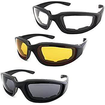 4a570cf54a 3 Pair Motorcycle Riding Glasses Padding Goggles UV Protection Dustproof  Windproof Motorcycle Sunglasses with Clear Smoke Yellow Lens for Outdoor  Sports ...