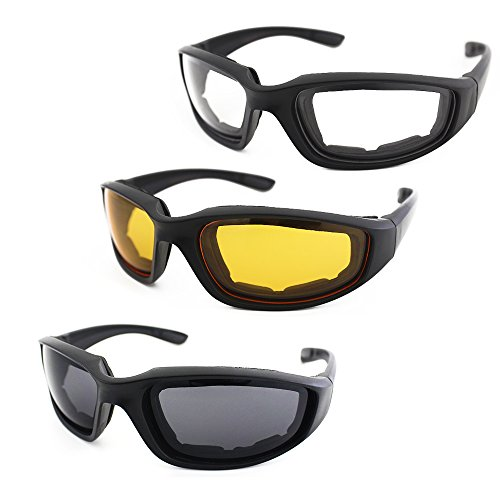 - 3 Pair Motorcycle Riding Glasses Padding Goggles UV Protection Dustproof Windproof Motorcycle Sunglasses with Clear Smoke Yellow Lens for Outdoor Sports Actives