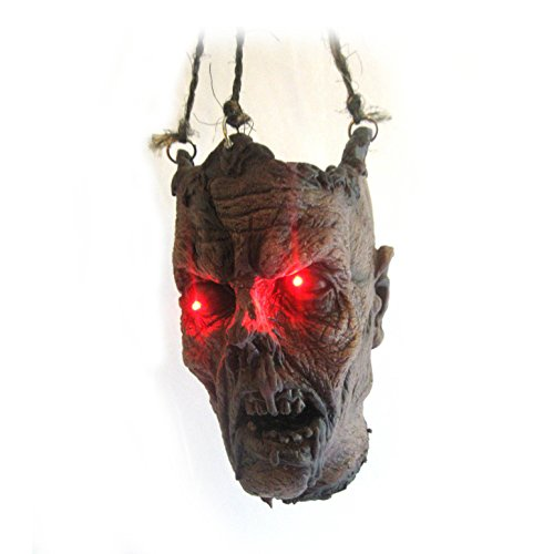 [Lifesize Lighted Eyes Zombie Head Hanging Halloween Party Haunted House Prop] (Hanging Halloween Props)