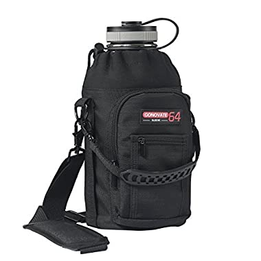 GoNovate 64 oz Pouch / Sleeve with Carrying Handle for Hydro Flask Bottles, w/ 2 Pockets and Adjustable Shoulder Strap