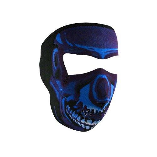 Zanheadgear WNFM024 Neoprene Full Face Mask, Blue Chrome Skull ()