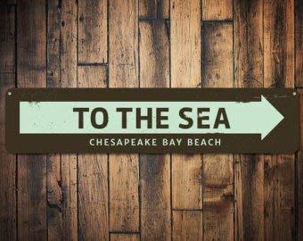 C B Signs L.E.D. Letrero de Flecha al mar, señal de Playa ...
