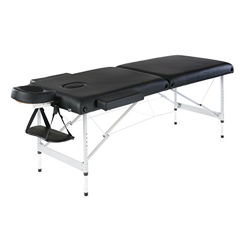 Artechworks Lightweight Massage Table with Aluminium Frame, 2 Fold Beauty Therapy Bed, w/Free Carry Case, Face Cradle, Arm Rests (Black)