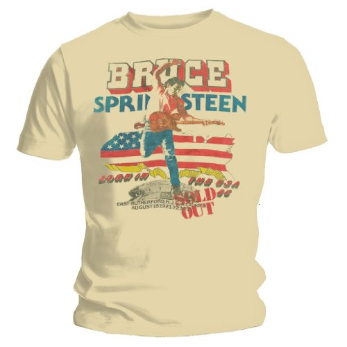 Live Nation Mens Bruce Springsteen Tour Official T Shirt Large Beige
