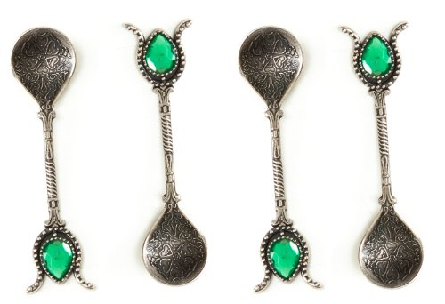 (Handmade Copper Turkish Ottoman Spoons Gift Set of 4, Tea, Coffee, Sugar Measuring, Serving (ANTIQUE SILVER GREEN))